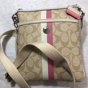 Coach tan and pink Crossbody Bag
